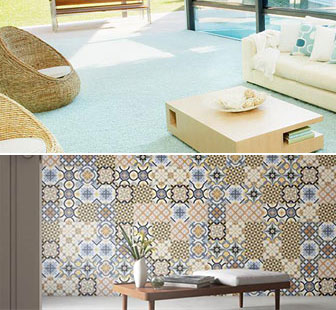 Carpeted Living Room and Tiled Wall